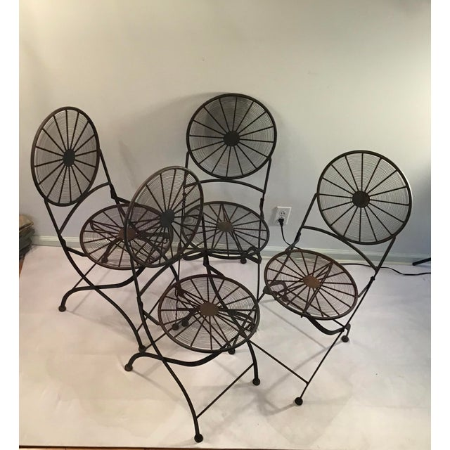 1960s Vintage Wrought Iron Pinwheel Bistro Style Folding Chair- Set of 4 For Sale - Image 4 of 13