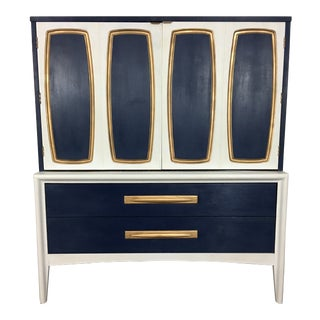 Mid-Century Modern Navy, White and Gold Gentlemen's Chest Dresser