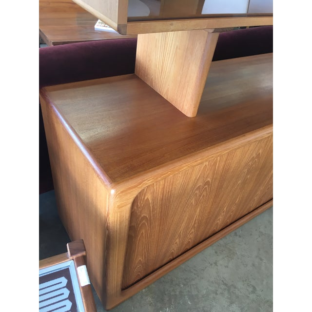 Brown 1950s Mid Century Modern Solid Teak Sideboard and Floating Hutch With Accordion Doors For Sale - Image 8 of 12