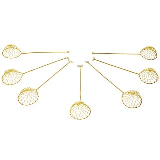 Brass Colored Metal Cocktail or Tea Strainers - Set of 7 For Sale