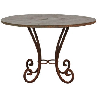 Wrought Iron and Copper Round Dining Table For Sale