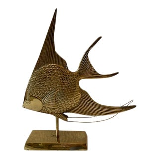 Mid Century Modern Brass Sailfish Sculpture on Stand For Sale