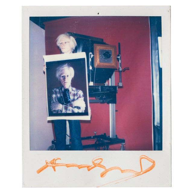 Polaroid of Andy Warhol Holding Polaroid by Bill Ray Signed Andy Warhol For Sale - Image 11 of 11