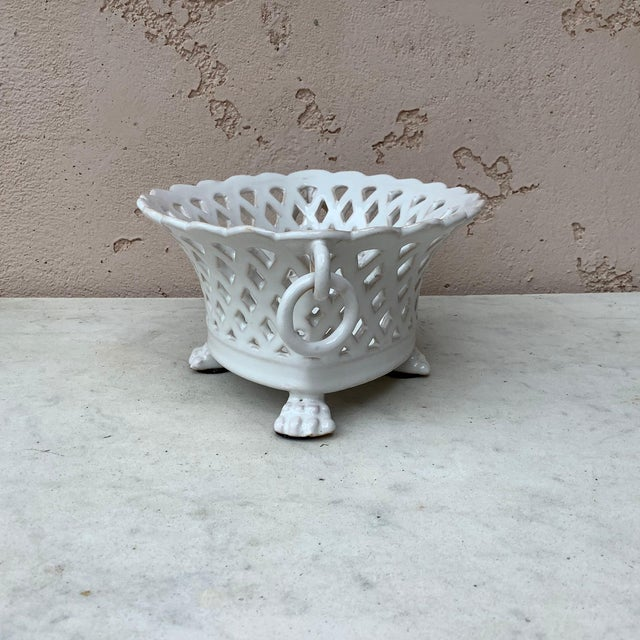 Rustic French White Reticulated Basket Emile Tessier, circa 1920 For Sale - Image 3 of 9
