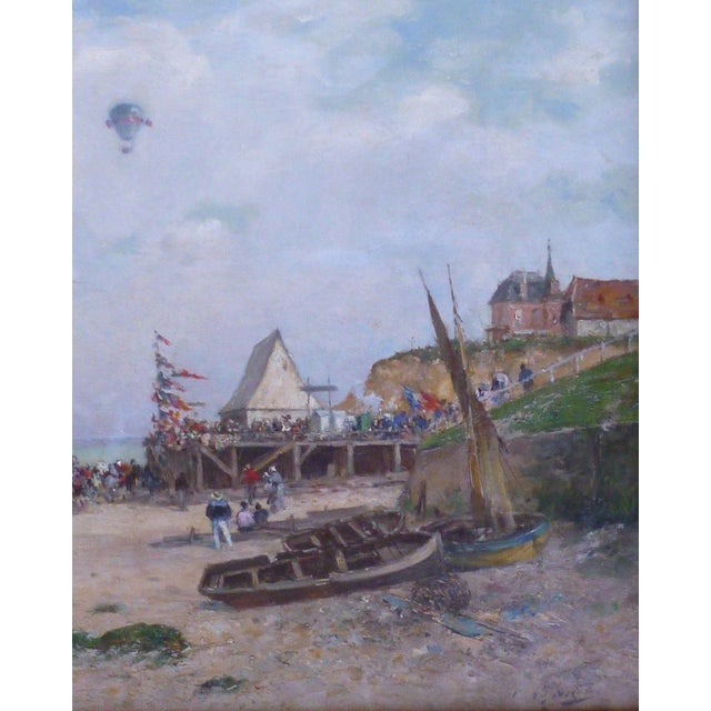 French 19th C French Impressionist Coastal Scene W Hot Air Balloon Painting For Sale - Image 3 of 10