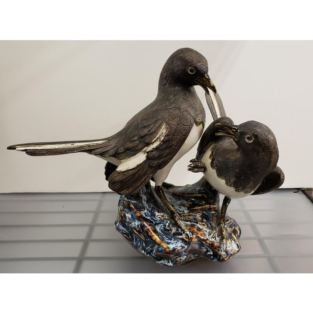 Ceramic Mid 20th Century Japanese Hirado Porcelain Eurasian Magpies on Rock Figurine For Sale - Image 7 of 7