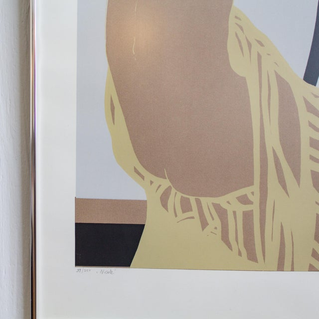 Black Nude Color Block Linocut Print by Georg Rauch Titled Nicole 1960s - 1970s For Sale - Image 8 of 12