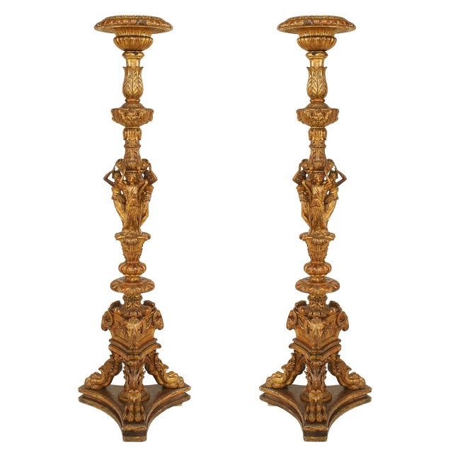 19th Century French Louis XVI Style Gilt Pedestals - a Pair For Sale