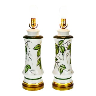 Vintage Ceramic Hand Painted Table Lamps - a Pair For Sale