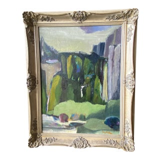 Mid 20th Century Abstract Landscape Oil Painting by Fay Hopkins, Framed For Sale
