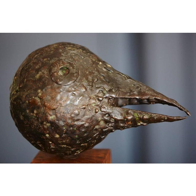 Brown Brutalist Style Minimalist Black Bird with a Long Beak on a Wood Base For Sale - Image 8 of 8