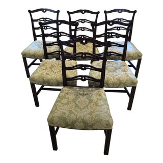 Chippendale Style Ribbon Back Dining Chairs - Set of 6 For Sale