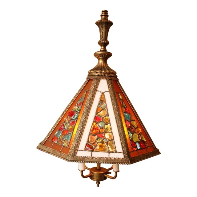 Brutal Stained Glass Modern Hollywood Regency Chandelier 1950s - Image 9 of 10