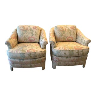 Vintage Pastel Tropical Birds Club Lounge Chairs - a Pair For Sale