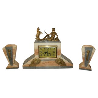 French Art Deco Clock Sculpture Deco Lady With Goat- Bronze, Circa 1940's