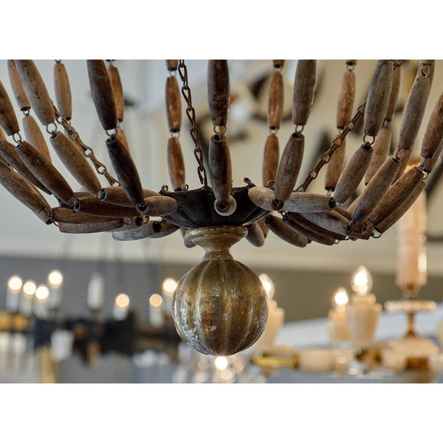 Brown Vintage Italian Wooden Chandelier For Sale - Image 8 of 10