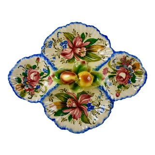 Italian Nove Rose & Fruit Relish Tray Server For Sale