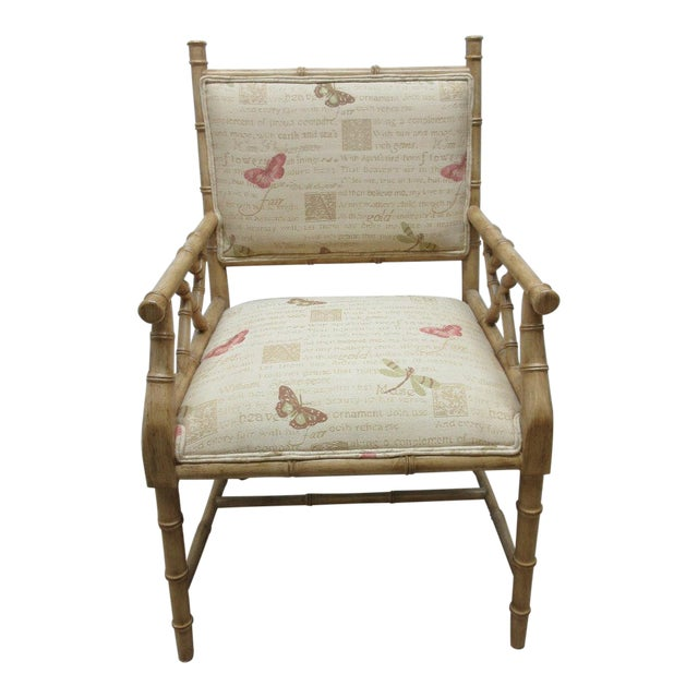 Vintage Faux Bamboo Regency Armchair For Sale