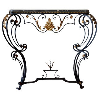 Louis XV Style Hand-Forged Black Wrought Iron Console With Gilt and Marble Top For Sale