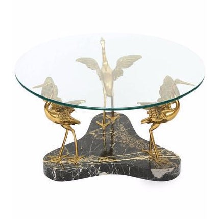 Willy Daro Style Marble & Brass Birds Coffee Table - Image 1 of 9