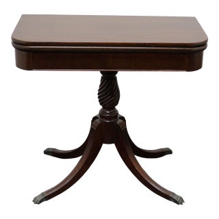 Brandt Sheraton Style Mahogany Swivel Flip-Top Game Table / Console For Sale
