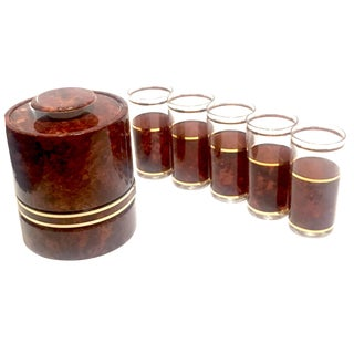 Brown & Gold Ice Bucket & Glasses - Set of 6 For Sale