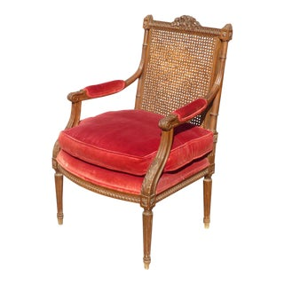 Vintage Carved Mahogany & Cane Red Velvet Arm Chair For Sale