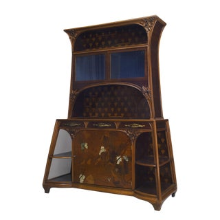 French Art Nouveau Mahogany & Walnut Cupboard Cabinet For Sale