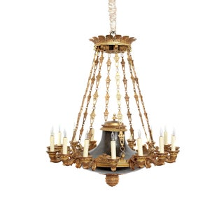 French Empire Patinated and Gilt Bronze Argon Chandelier / 16 Lights