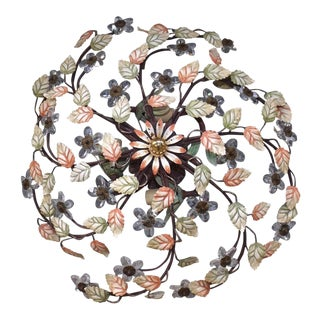 X Large Mid Century Maison Bagues French Hand Painted Tole W/ Crystal 5 Light Ceiling Fixture/ Flush Mount For Sale