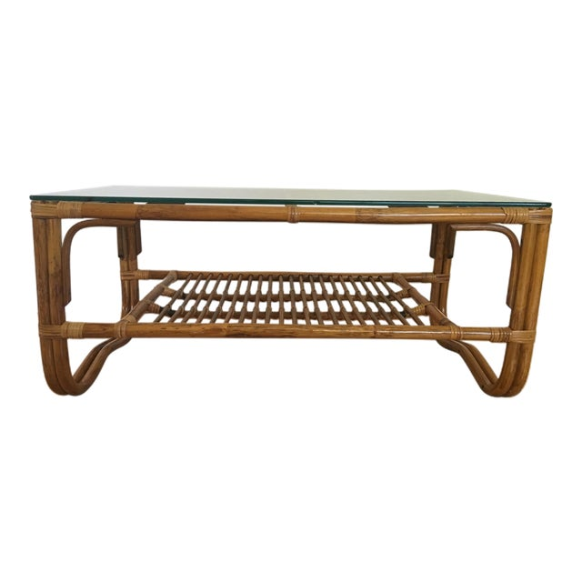 Vintage Franco Albini Style Bamboo Glass Top Table - Image 1 of 7
