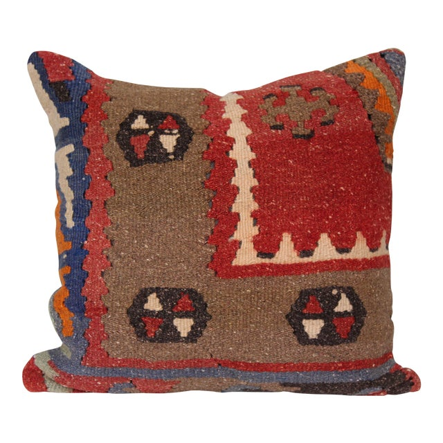 16-Inch Square Turkish Vintage Pillow Cover For Sale