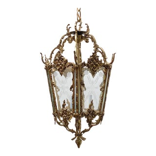 Vintage Bronze Lantern With Etched Glass Panels For Sale