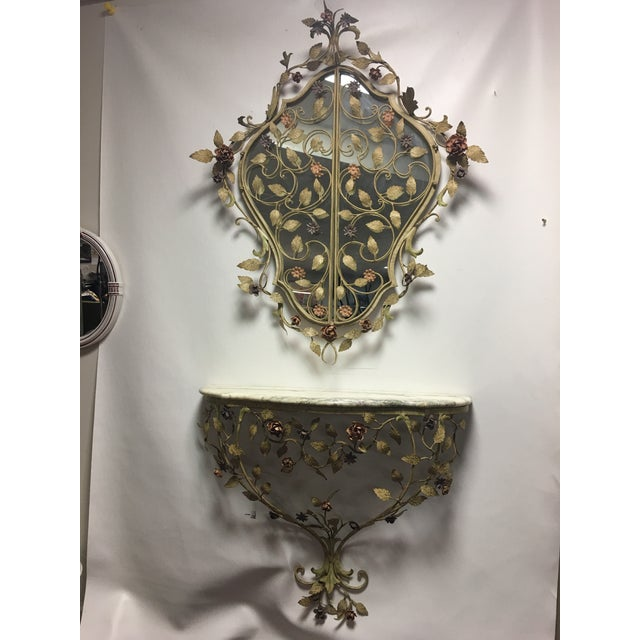 1950s Vintage Italian Tole Caged Mirror & Marble Top Console Table For Sale - Image 12 of 13