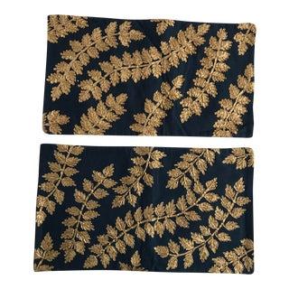 West Elm Gold Vine Appliqué Pillow Covers - A Pair For Sale