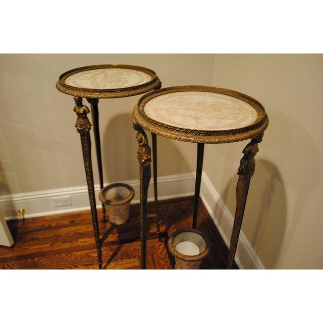 Antique Brass Pedestals - Pair - Image 8 of 9