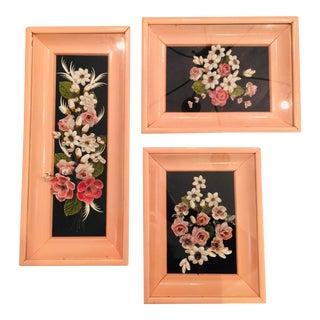 Mid-Century Modern Shell Art Frames - Set of 3 For Sale