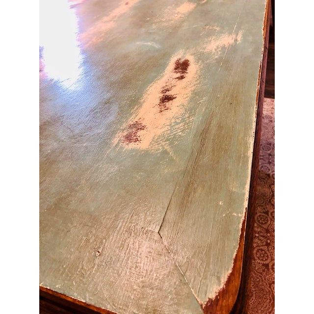 1920s Traditional Solid Oak Captain's Dining/Center Table with Patina For Sale - Image 4 of 12