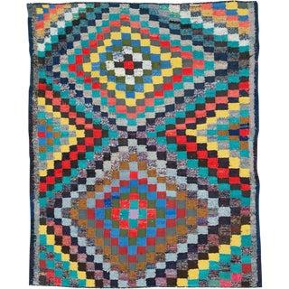 "Vintage Persian Flatweave Kilim Rug – Size: 5' 5"" X 6' 10"" For Sale"