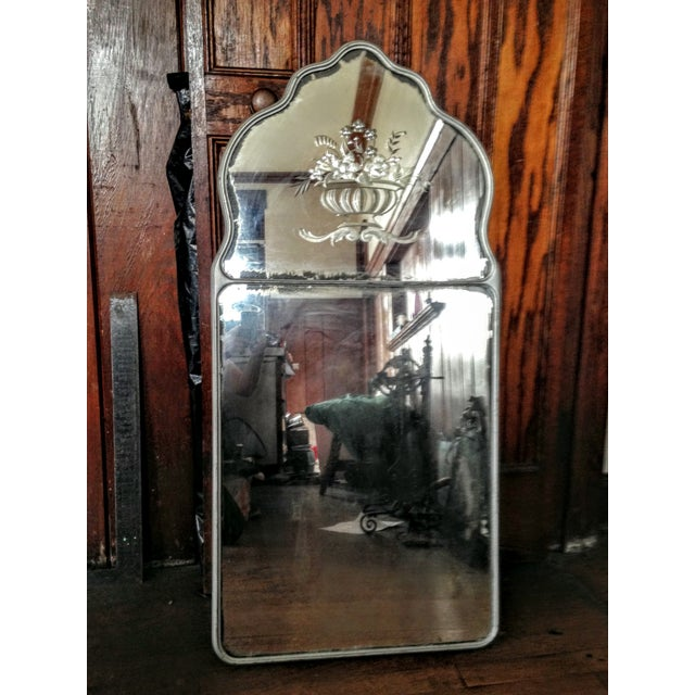 Large Vintage Etched Wall Mirror - Image 5 of 11