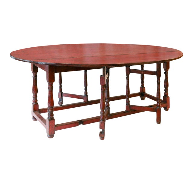 Red Lacquered English Table For Sale