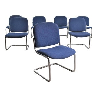 Vintage Tubular Chrome and Blue Fabric Cantilever Lounge Chair Armless Slipper Style, 7 Available For Sale