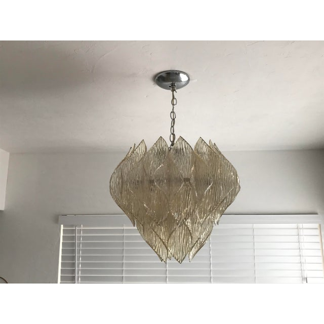 Large Folded Acrylic Lucite Clear Hard Wired Chandelier In The Style Of Kalmar Chairish