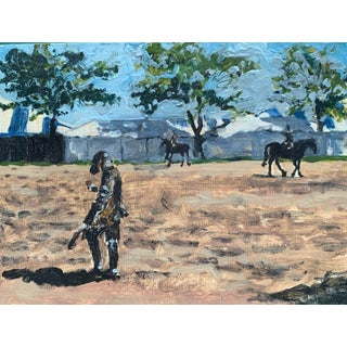 Hampton Classic Horse Show Painting, Oil on Board For Sale