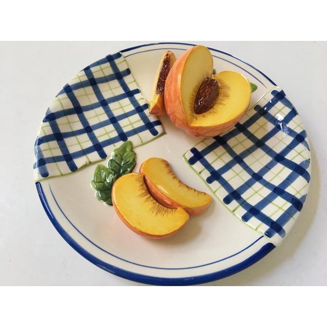 Trompe l'Oeil Decorative Blue Plaid Peach Plate For Sale - Image 4 of 10