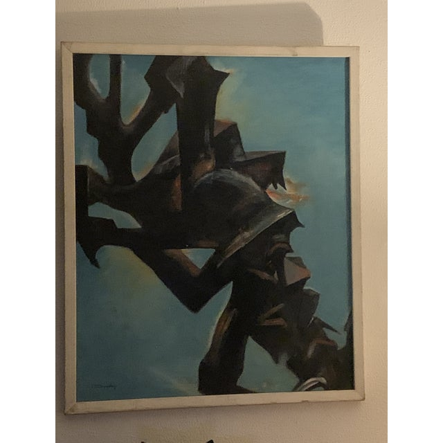 Fabulous painting in a midcentury modern frame in good vintage condition.