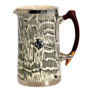 1930s Silver Shield Faux Bois Jug For Sale