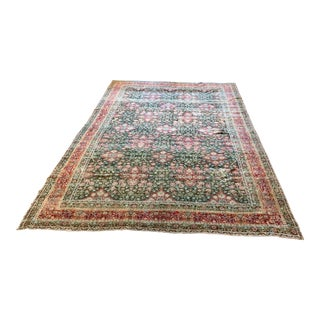Large Vintage Kerman Wool Rug - 13′ × 14′ For Sale