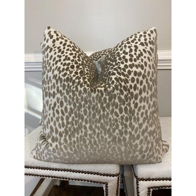 "2010s Schumacher ""Cheetah Velvet"" in Natural 22"" Pillows For Sale - Image 5 of 5"
