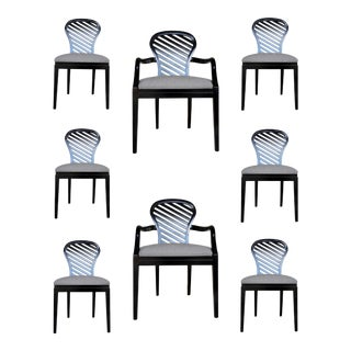 Mark Sikes for Henredon Gray and Black Dining Chairs Set of Eight For Sale